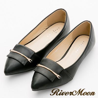 River&Moon尖頭鞋-俐落細金條通勤平底鞋-名媛黑