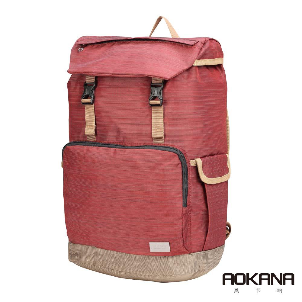 AOKANA奧卡納 輕量防潑水護脊電腦商務後背包(摩登紅)68-092