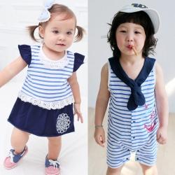 baby童衣 夏日海軍風連身衣 32012