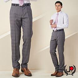 極品西服-低調品味仿毛格紋平面西褲_灰格(BS633-1)