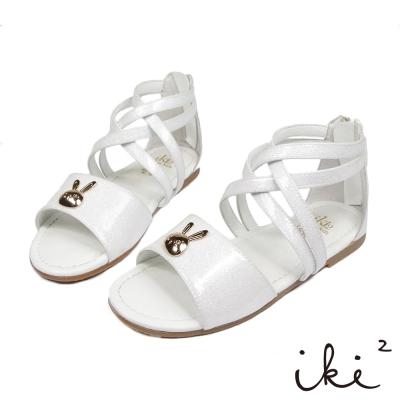 iki2童鞋-咕妮兔系列-交叉繞踝休閒涼鞋-浪花白
