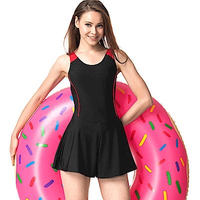 速霸 泳裝 胸前紋飾連身褲裙式女泳裝