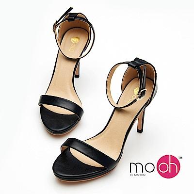 mo.oh-一字帶細跟百搭露趾涼鞋-黑色