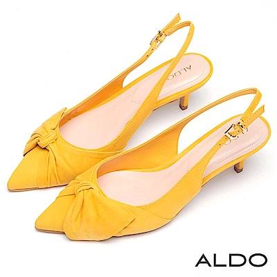 ALDO 原色真皮鞋面蝴蝶扭結金屬釦帶尖頭細跟鞋~芥末黃色