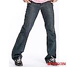 BOBSON 男款鬼爪痕輕刷白低腰喇叭褲