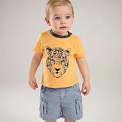 Dave Bella 橘黃手繪老虎短袖套裝2件組