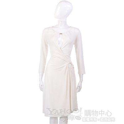 PAOLA FRANI 米白色鏤空深V款腰環飾洋裝