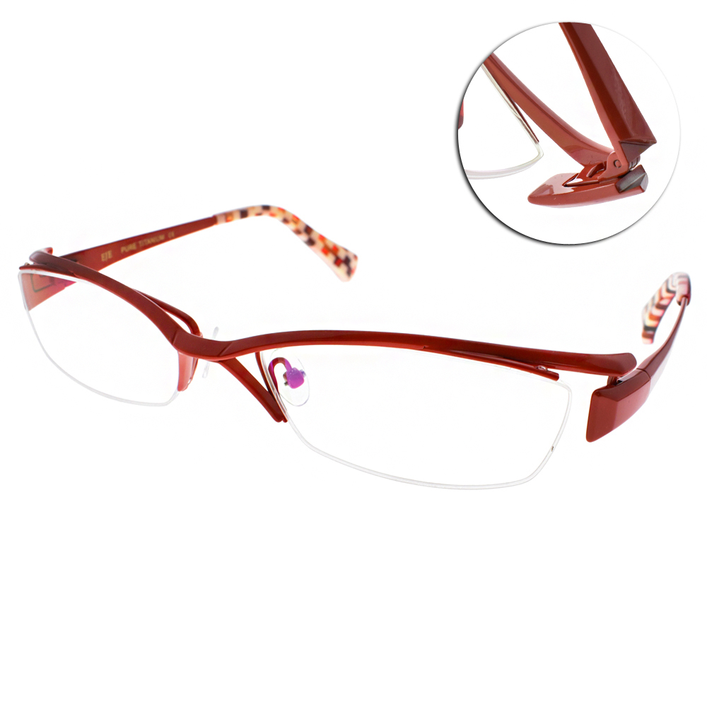 EOS眼鏡 純鈦半框/紅-橘#EOSJ1009 L06