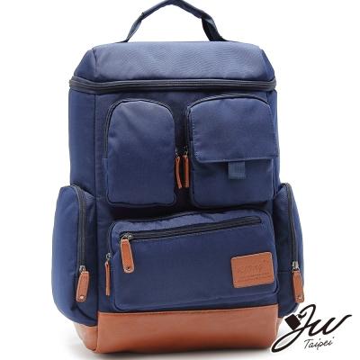 JW韓系柯博文休閒多口袋實用後背包-共4色-寶藍