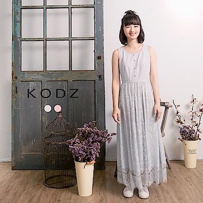 東京著衣KODZ酷琪琪聯名小清新蕾絲拼接背心洋裝-女-S.M.L(共二色)