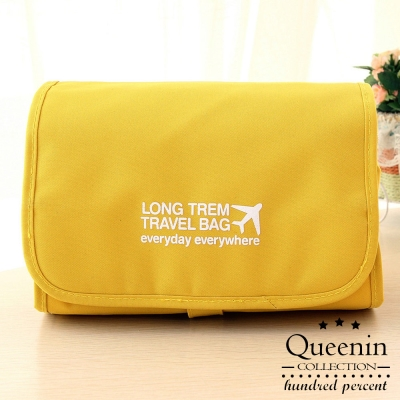 DF Queenin - 韓版可拆式多功能盥洗旅行收納包-黃色
