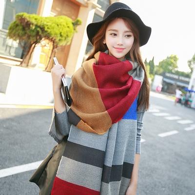 Seoul-Show-多彩格子仿羊絨大圍巾披肩