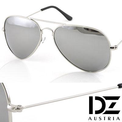 DZ 復古饗宴 抗UV 偏光太陽眼鏡墨鏡(銀框水銀膜)