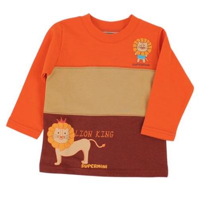 愛的世界-SUPERMINI-純棉圓領獅子拚色長袖上衣-10-12歲