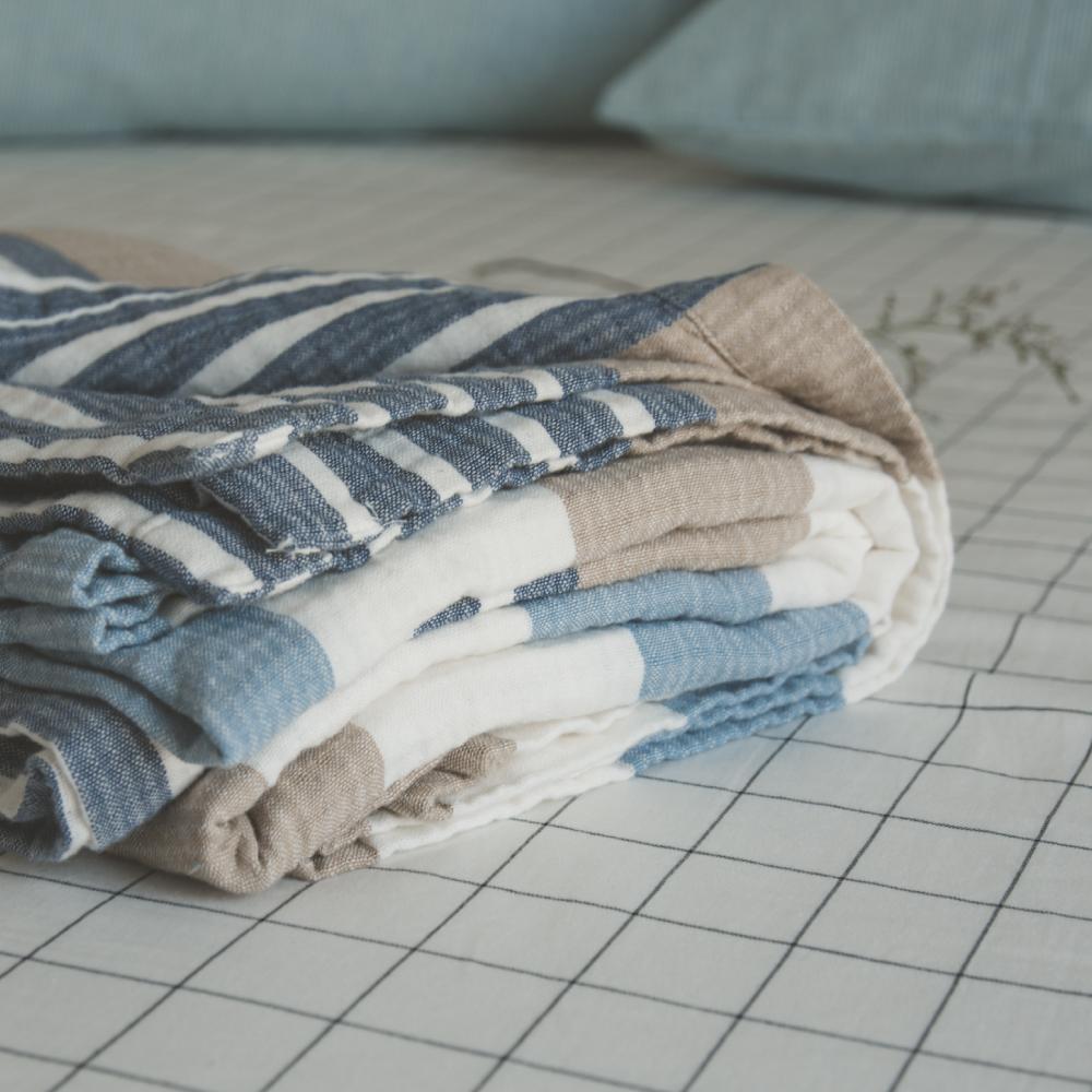 翔仔居家 雙層紗涼毯-150x200cm(微風藍)