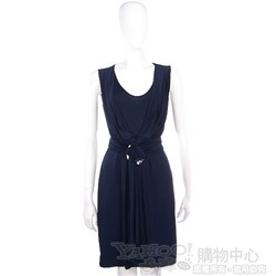 PAOLA FRANI 深藍色綁帶無袖洋裝