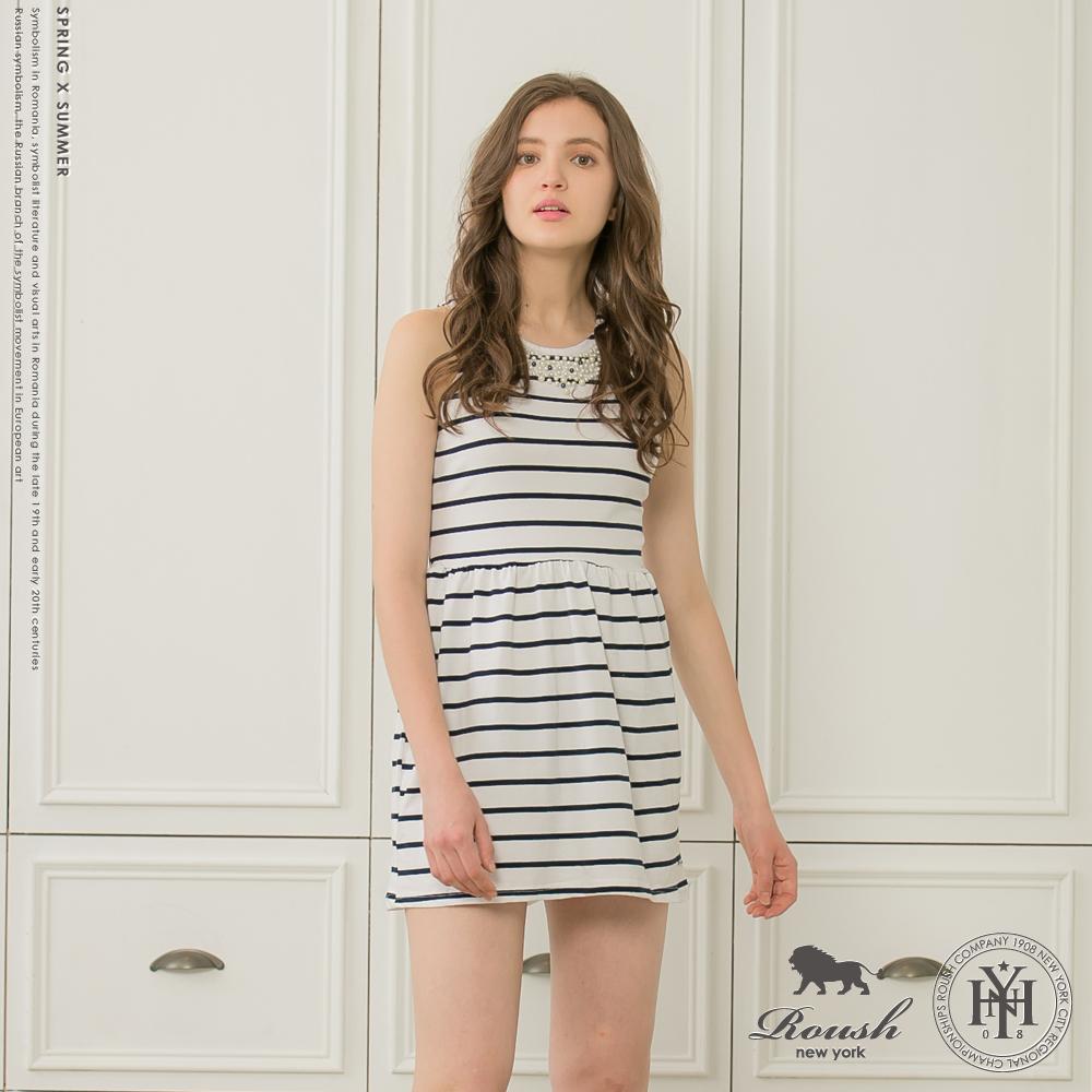 ROUSH 女生寶石貼鑽橫條紋洋裝 (2色)