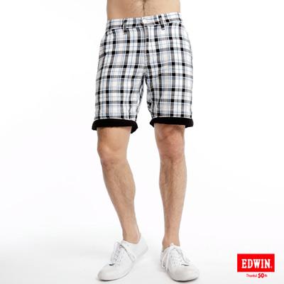 EDWIN休閒帥氣-時尚反褶格子短褲-男款黑格