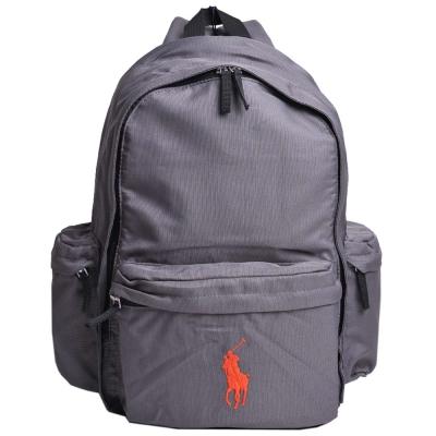 POLO Ralph Lauren 品牌LOGO圖騰刺繡尼龍後背包(灰/橘馬)