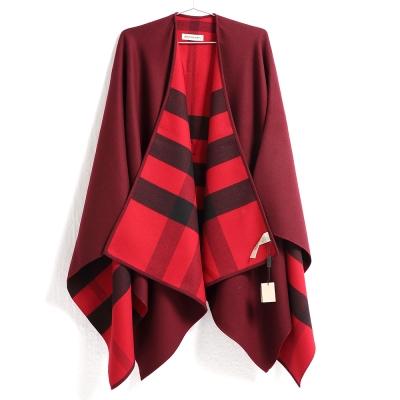 BURBERRY 雙面兩用格紋美麗諾羊毛斗篷 紅色/格紋