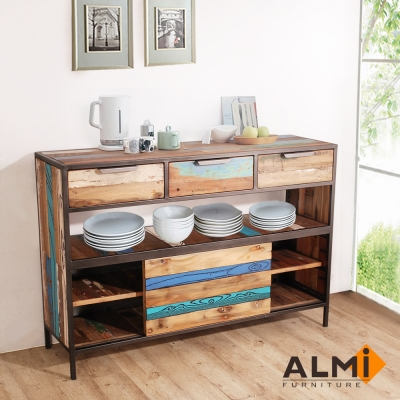 ALMI-SLIDING DOOR 三抽滑門餐櫥櫃W140*D40*H95CM
