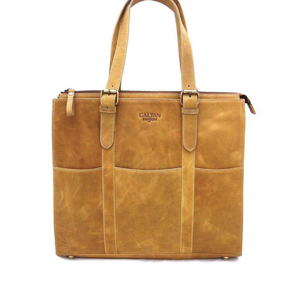 CALTAN - 女用皮大容量拉鍊托特包肩背包皮包-4947s