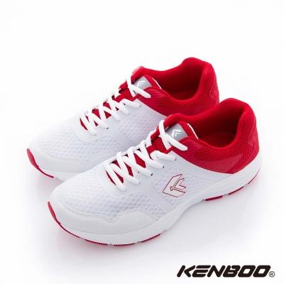 KENBOO(男)-後座力 雙撞色夜螢光運動鞋-紅撞白
