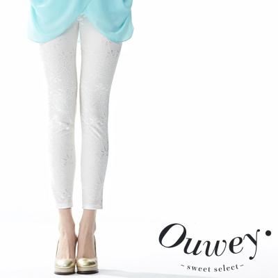 OUWEY歐薇-蕾絲拼接合身九分窄管長褲-共2色