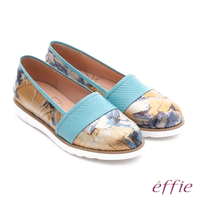 effie休閒摩登 壓紋真皮閃色印刷布休閒鞋 淺藍