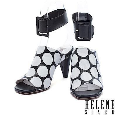 拖鞋 HELENE SPARK 時尚復古裝飾性踝帶釦設計圓點穆勒高跟拖鞋-黑