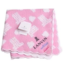LANVIN en bleu 繽紛品牌圖騰LOGO蝴蝶結刺繡小方巾(粉紅色系)