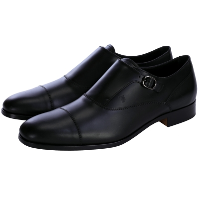 TOD'S Sartorial 牛皮金屬釦飾紳士皮鞋(男鞋/黑色)