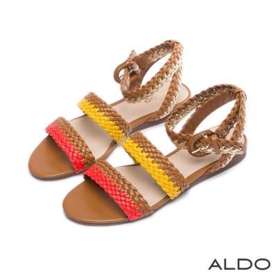 ALDO 彩色交叉麻花編織雙繞帶涼鞋~自然棕色