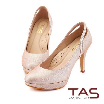 TAS 後鏤空方鑽曲線金蔥高跟鞋-華麗粉