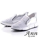 Ann by asin個性玩酷~水鑽星星造型網紗真皮厚底休閒鞋(銀色)