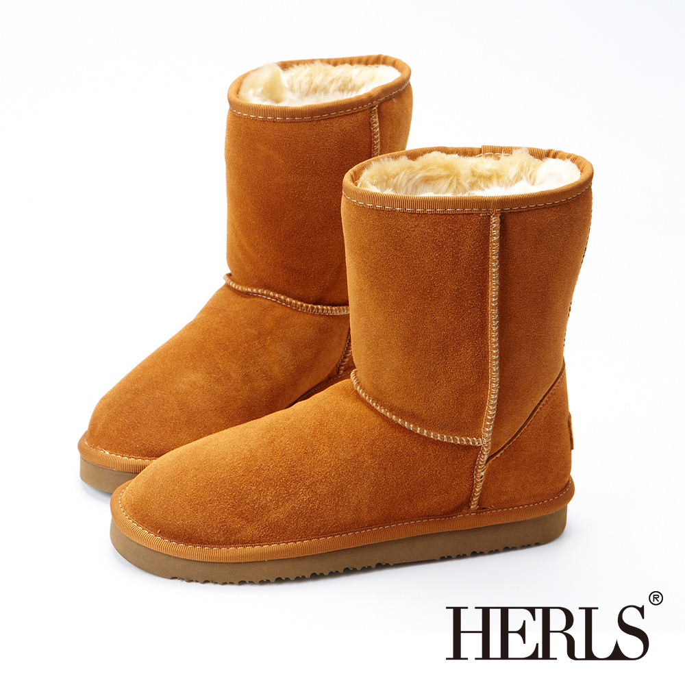 HERLS-全真皮 中筒雪靴-駝色