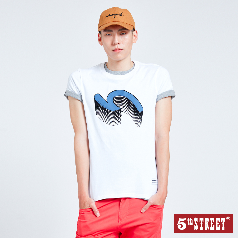 5th STREET 袋花疊影植絨短袖T恤-男-白色