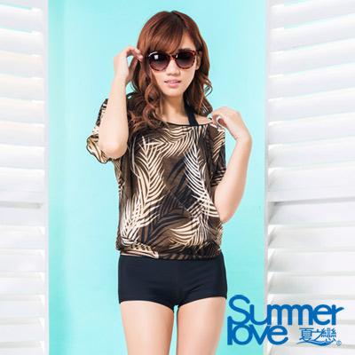 夏之戀SUMMERLOVE 比基尼泳裝 長版三件式泳衣 咖啡色叢林風