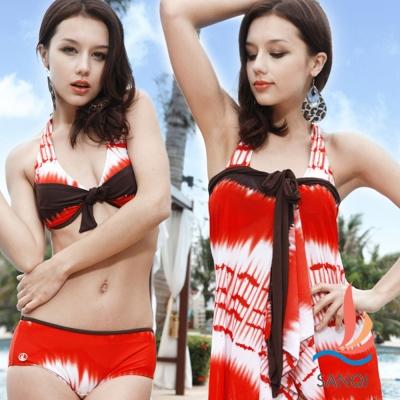 SANQI三奇 柔情夢境 三件式鋼圈比基尼泳裝 泳衣(紅M~XL)