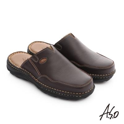 A.S.O 都會休閒 全真牛皮抗震雙核心張菲鞋 咖啡色