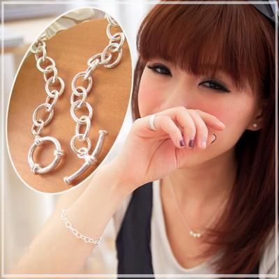 【維克維娜】時尚美人。秀氣款T扣圈圈 925純銀手鍊