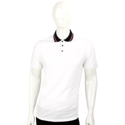 TRUSSARDI 白色拼接黑領條紋細節短袖POLO衫