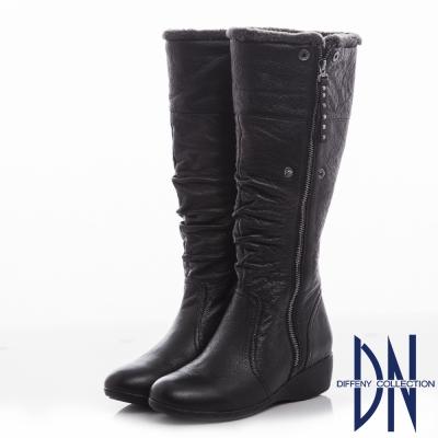 DN 經典時尚 人氣百搭質感皺褶牛皮長靴-黑