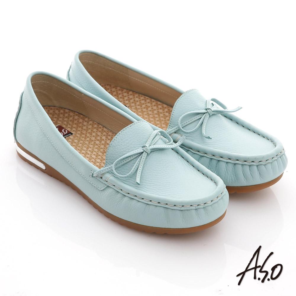 A.S.O 縫線耐走 全牛皮細帶蝴蝶平底鞋 藍 @ Y!購物