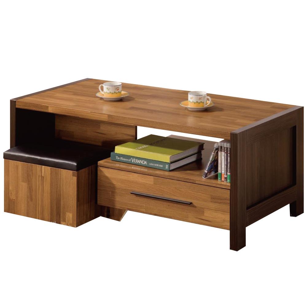 品家居 辛曾4尺大茶几(附收納椅凳2入)-120x60x52.5cm-免組