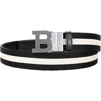 BALLY B BUCKLE B字母釦黑白條紋織帶牛皮腰帶(雙面用/黑色)