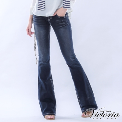 Victoria V字鑽中低腰靴型褲-女-深藍