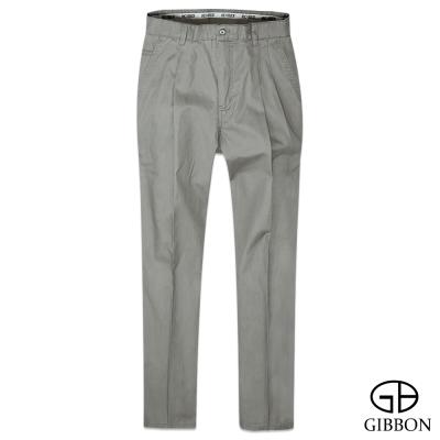 GIBBON 暗直紋輕棉打摺休閒褲‧灰綠31~42