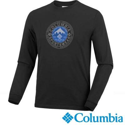 【美國Columbia哥倫比亞】男-長袖棉T-黑  UJM14470BK