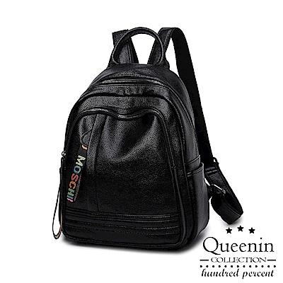 DF Queenin日韓 - 簡約清新路線皮革款後背包